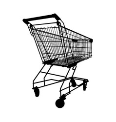 silhouette shopping cart on white isolated vector image