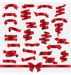 silk red ribbons isolated transparent background vector image
