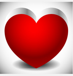 Single heart with metallic 3d effect and shadows vector