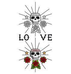 Skull and flowers tattoo template vector