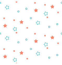 Star shape blue and green seamless kid pattern vector