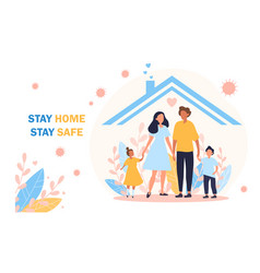 stay home safe poster for covid-19 pandemic vector image
