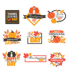 thanksgiving holiday in autumn banners with vector image