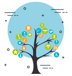 tree with medical healthcare icons vector image