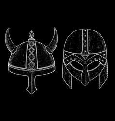 viking helmets hand drawn sketch vector image