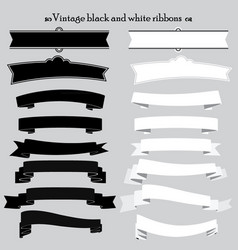 vintage black and white ribbons vector image