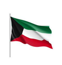 Waving flag of kuwait vector