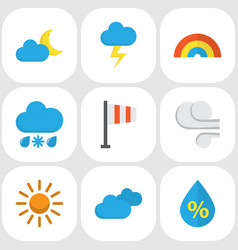 weather flat icons set collection of sun vector image