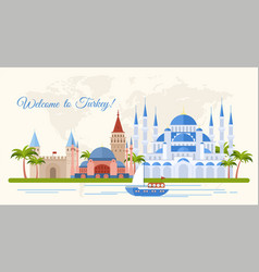 Welcome to turkey flat banner template vector