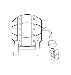 wine barrel outline vector image