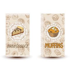 cheesecake and muffins hand drawn vector image