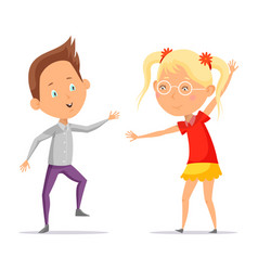 children dancing or cartoon boy with girl moving vector image