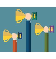 Hands holding winners trophy award vector image vector image