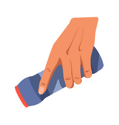 human hand holding blue bottle of cleaning powder vector image