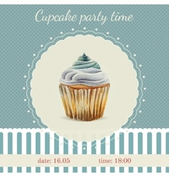 Invitation template with watercolor cupcakes vector image vector image