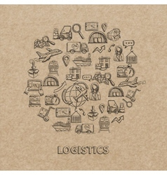 Logistic Sketch Icons vector image vector image