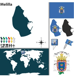 Melilla map world vector image
