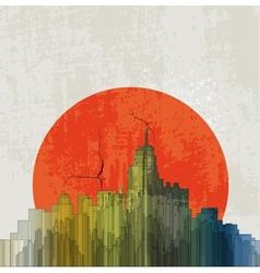 Apocalyptic retro poster Sunset Grunge background vector image