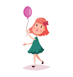girl or child kid holding air balloon on rope vector image vector image