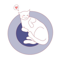 cat sleeping on bed vector image
