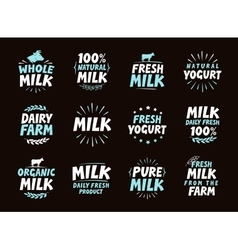 Fresh milk set logo label element Dairy product vector image vector image