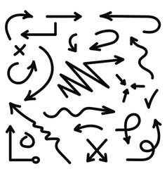 hand drawn arrows set black sketch arrows in vector image vector image