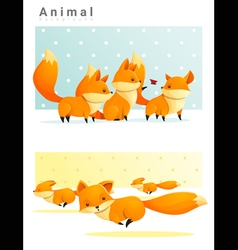 Animal background with Foxes 1 vector image