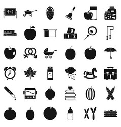 apple icons set simple style vector image