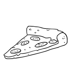 black and white pizza slice vector image vector image