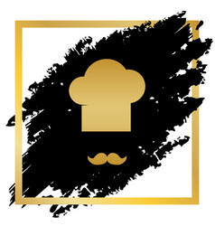 chef hat and moustache sign golden icon vector image vector image