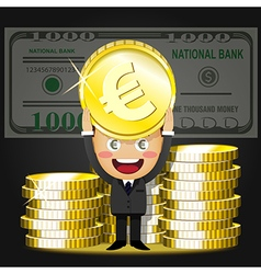 happy man and stack of big golden coins vector image