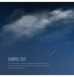 Night background clouds and shining stars vector image vector image