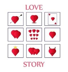 nine cards Valentine day vector image