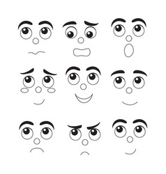 set of funny cartoon faces different emotions vector image