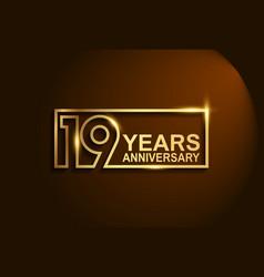 19 years anniversary golden design line style vector