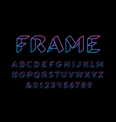 3d linear font alphabet with latin letters vector image