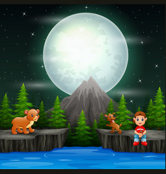 a boy fishing with animals in night scene vector image