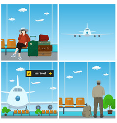Airport waiting room vector