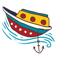 Anchored small boat or color vector