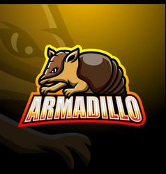 Armadillo mascot esport logo design vector