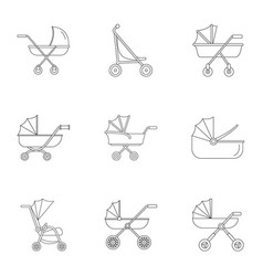 Baby stroller icon set outline style vector