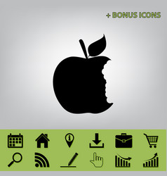 Bite apple sign black icon at gray vector