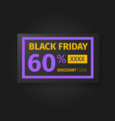 Black friday 60 percent discount coupon vector