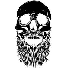 black silhouette bald bearded hipster skull vector image