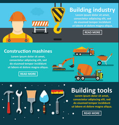Building tools banner horizontal set flat style vector