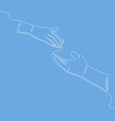 caring hand continuous line concept charity vector image