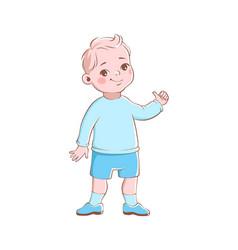 Cartoon preschool boy cute blond child character vector