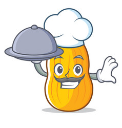 Chef with food butternut squash mascot cartoon vector