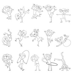 children sports fitness coloring book vector image