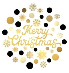 Christmas gold lettering with glittering confetti vector image